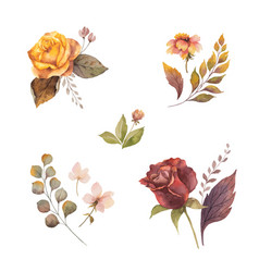 Watercolor autumn set with roses and leaves vector