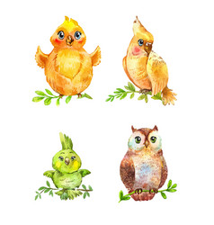 watercolor funny little birds isolated on white vector image