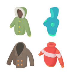 winter clothes icon set cartoon style vector image