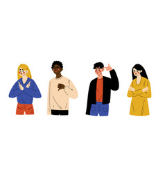 young people gesturing men and women showing vector image