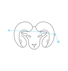 zodiac signs aries line icon simple element vector image
