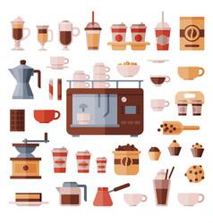 coffee set coffeemachine with coffeecups vector image