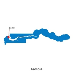 Detailed map of Gambia and capital city Banjul vector image vector image