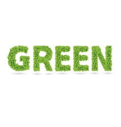 Green text of green leaves vector image