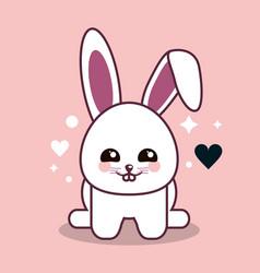Rabbit kawaii cartoon happy cute icon vector
