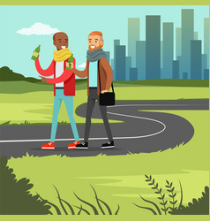 two best male friends drinking beer while walking vector image