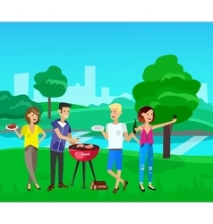 Family picnic Bbq party Food and barbeque vector image