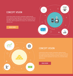 flat icons strongbox payment growing chart and vector image