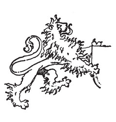 Lion supporting a shield is a modern mural vector