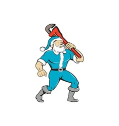 Muscular Santa Claus Plumber Wrench Isolated vector image