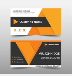orange corporate business card name card template vector image