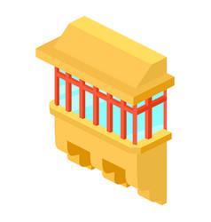 yellow balcony icon isometric 3d style vector image