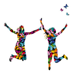 collorful with silhouettes of women jumping and vector image