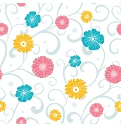 Colorful Flowers on Swirly Braches Seamless vector image vector image