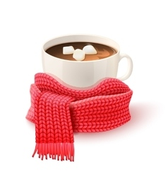 Cup Chocolate With Knitted Scarf Print vector image vector image