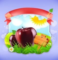 Juicy apples label design vector image vector image