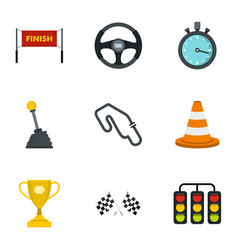 motor race icons set flat style vector image