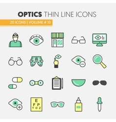 Optician Thin Line Icons Set with Optometry vector image vector image