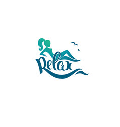 relax logo template image of girl sea and vector image vector image