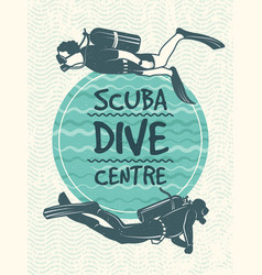 retro poster for sport club of diving vector image vector image