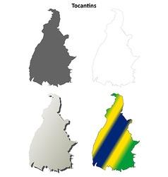 Tocantins blank outline map set vector image