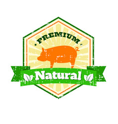 butcher shop vintage logo natural food farm logo vector image