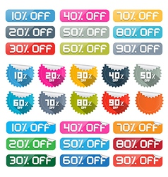 Colorful Discount Stickers Labels Set on White vector image vector image