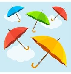 colorful fly soaring umbrellas background vector image vector image