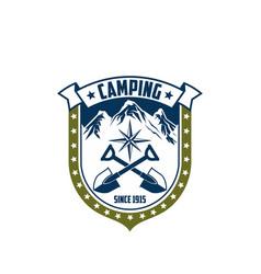Mountain camping rock alp compass icon vector