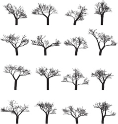 Set of sixteen silhouettes of trees vector