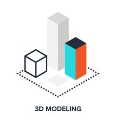 3d modeling flat concept vector image
