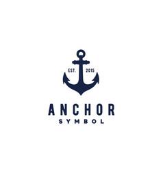 anchor rustic vintage retro ship boat label logo vector image