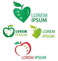 Apple fruit symbol set isolated on white vector