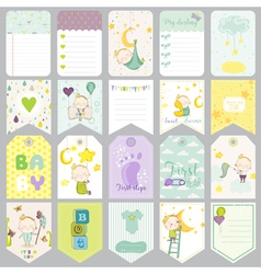 Baby Boy Tags Baby Banners Scrapbook Labels Cute vector
