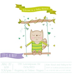Baby shower or arrival card - cat vector