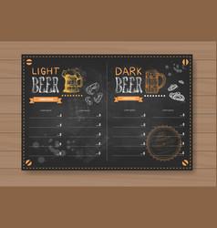 beer menu design for restaurant cafe pub chalked vector image