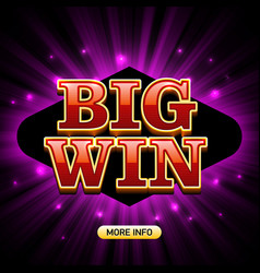 big win banner for casino games such as poker vector image