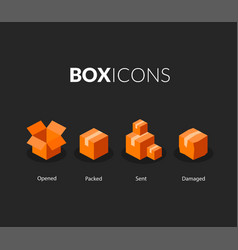 Box logo template flat icons set vector