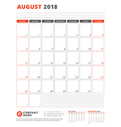 calendar template for 2018 year august business vector image