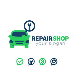 Car service repair shop logo element vector