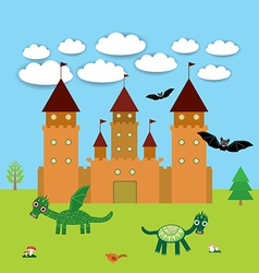 Card With Castle fairytale landscape with dragons vector image