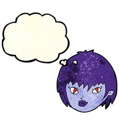 Cartoon vampire girl face with thought bubble vector