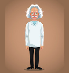 Character scientist physical with glasses coat vector