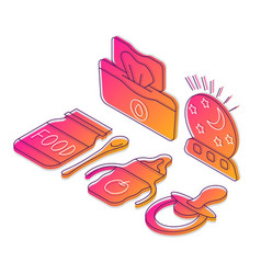 Childcare products isometric vector