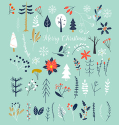 christmas and happy new year winter plants and vector image