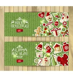 Christmas banner set on green knitting texture vector