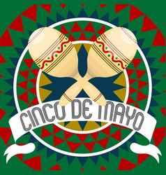 cinco de mayo poster with a maracas vector image