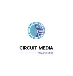 Circuit media circle logo design vector