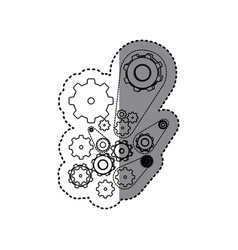 contour gears signs icon vector image