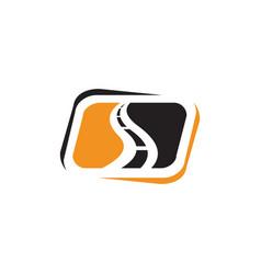 Creative road construction logo design sign vector